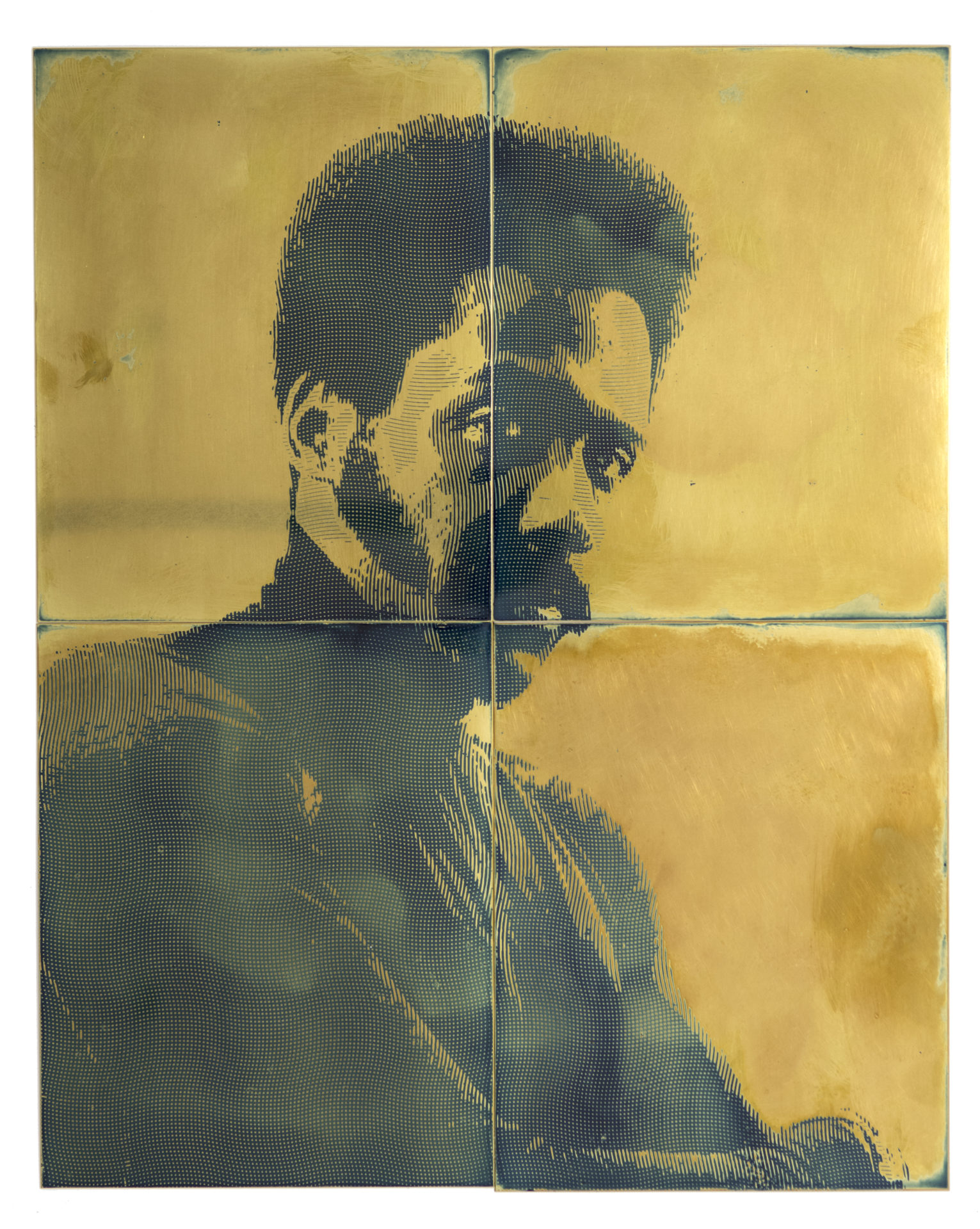 Blaxpotation: Richard Roundtree, émulsion photosensible sur laiton, 20 x 30 cm, 2018