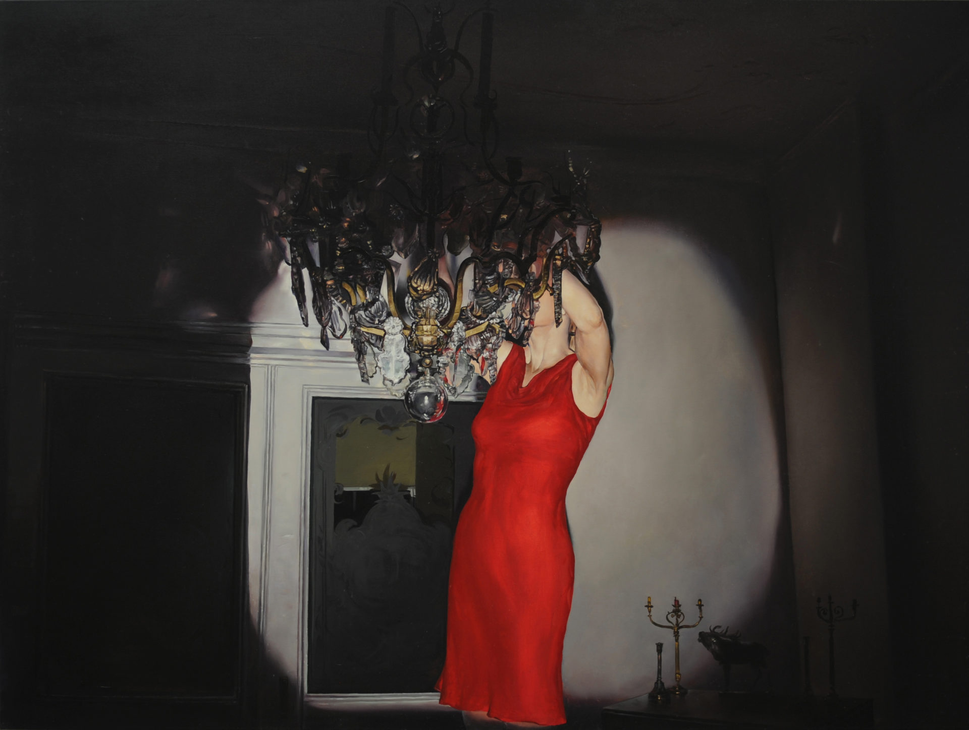 Red dress, Huile sur toile, 120 x 160 cm, Collection privée