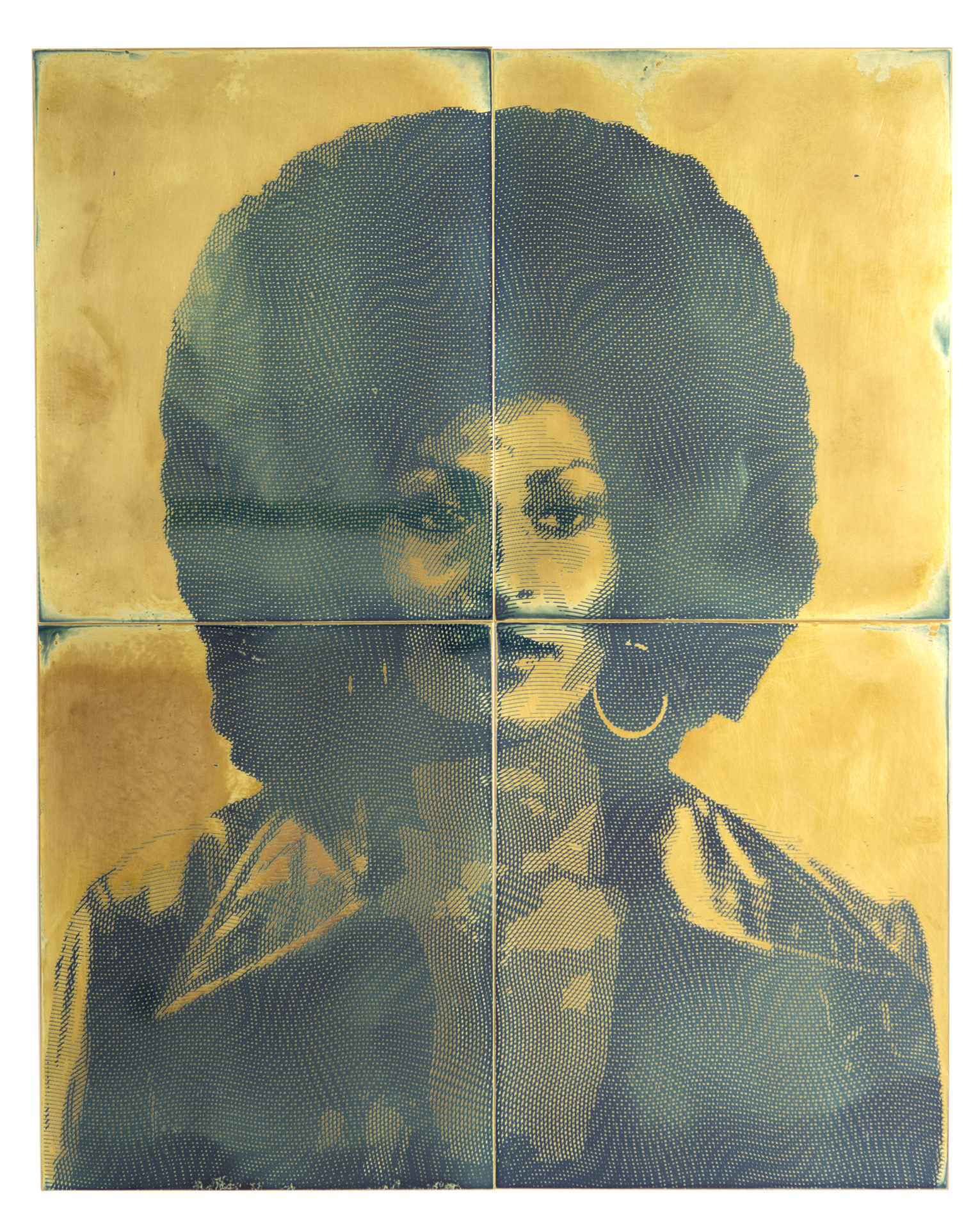 Blaxpotation: Pam Grier, émulsion photosensible sur laiton, 38 x 48 cm, 2018