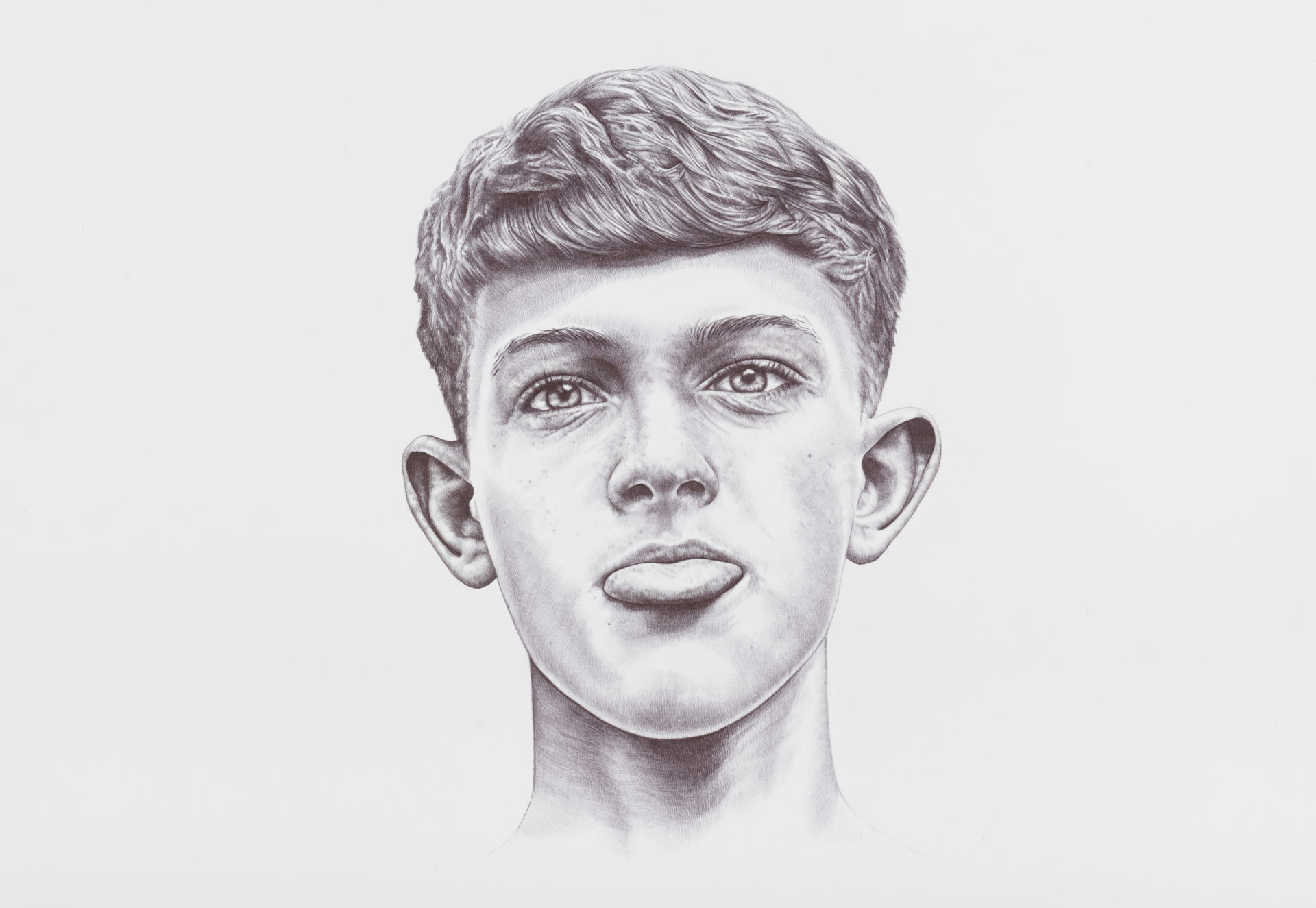 Timmy, stylo bic noir sur papier, 73 x 53 cm, 2014, Collection privée