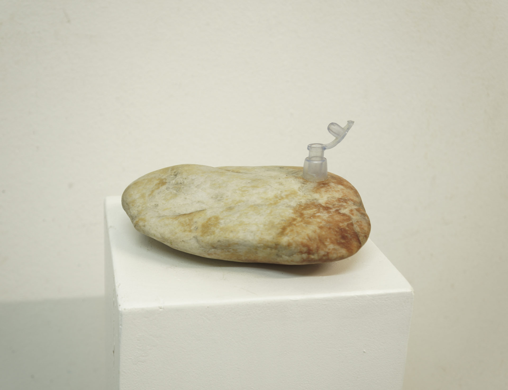 Deflated rock 1, pierre et caoutchouc, dimensions variables, 2018