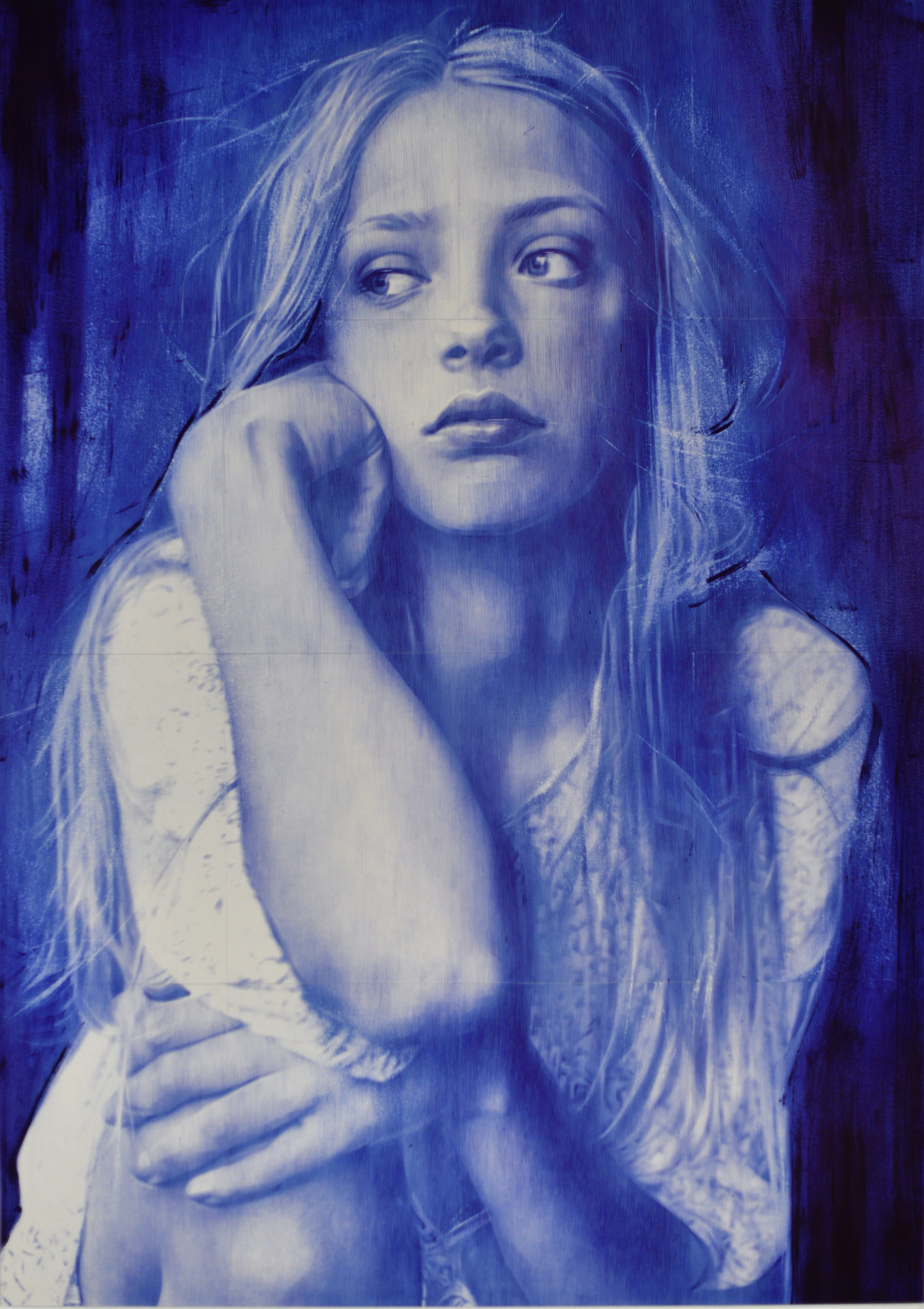 Blue eyes, stylo bic sur papier, 165 x 120 cm, 2019,Collection privée